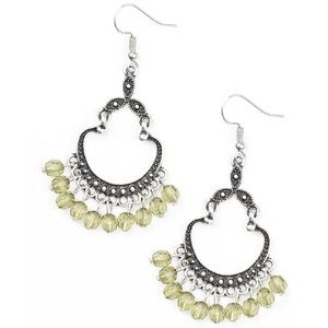 Green Beaded Silver Studded Dangle Earrings